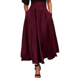 LuckyGirls Jupe Plissée Femmes Longue Taille Haute Pocket Jupes Rétro Ceinture Maxi S-XXL (Rouge, L)