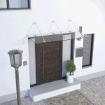 Schulte Auvent Davita 200 x 90 cm – Marquise de Porte d'entrée en Verre de Sécurité Transparent, Fixation en Inox
