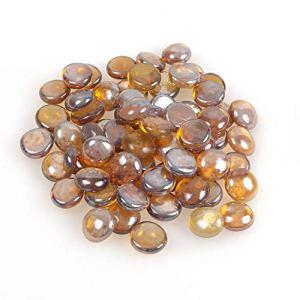 Shiny Stone XG-0GPM-TLA3 Billes Plates en Verre, Ambre Clair, 3-6 mm