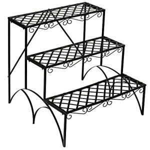 TecTake Etagère de jardin pour plantes escalier en fer 3 niveaux env. 60x60x60cm – charge max: env. 30 kg