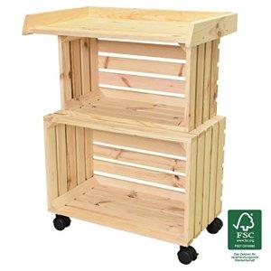 Wagner 25026001 GreenFAMILY GreenTABLE Table de Plantation Mobile en Bois de pin Naturel FSC, 80 x 60 x 40 cm, 4 Rouleaux, 2 bloqueurs, Peu encombrant, Multi-usages