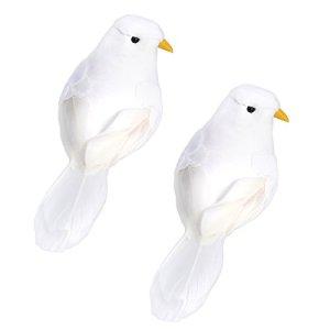 WINOMO 2 PCS Artificielle Oiseaux Artisanat Oiseaux Faux Oiseaux Plume Mousse Pigeons avec Clips pour Photo Props Décoration de La Maison