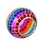XQK Lampe solaire en mosaïque changeante de couleur multicolore globe en verre de table de bureau Lumières d'intérieur d'extérieur