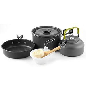 2 à 3 personnes Portable Teapot PORTIER Pot Set Pot Set multi pique-nique personne Pot Set en aluminium antiadhésive et Lumière Batterie de cuisine en plein air pour Camping Randonnée Pédestre