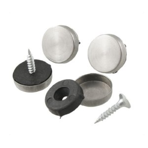 4pcs en métal 16mm Dia Caps Miroir Vis Ensemble pour salle de bain