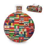 All3DPrint International Tapis de pique-nique Motif drapeau du monde