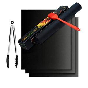 Barbecue pour griller et Set de 3 tapis de pâtisserie en silicone avec revêtement anti-adhésif pour à 0.2 mm d'épaisseur – 33 x 40 cm idéal pour barbecue au charbon de gaz et four et FDA LFGB d'Autorisation