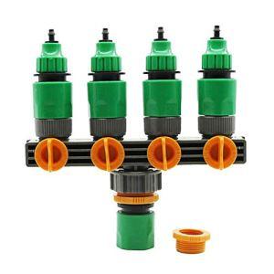 Clevoers Répartiteur à 4 Voies, Distributeur d'eau réglable et d'arrêt Robinet de Robinet Optimal pour Une Utilisation Pratique dans Le Jardin, avec 4 robinets