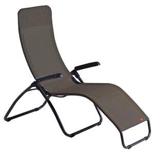 Fauteuil chaise longue fiam Tango à bascule avec appuie-tête–Acier Anthracite, texfil Taupe Made in Italy