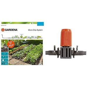 GARDENA Kit d'arrosage goutte-à-goutte pour massifs et potagers: système d'arrosage Micro-Drip pour un arrosage individuel et flexible (13015-20) & Lot de 10 goutteurs réglables,Multicolore