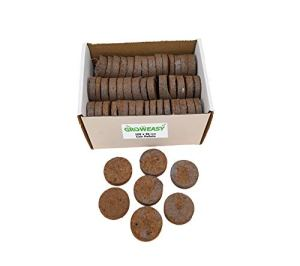 Groweasy Lot de 100 pellets de coco 100 % fibres de coco 100 % naturelles 100 % fibres de coco | 100 granulés de sol comprimés faciles à utiliser enveloppés dans un tissu non tissé.