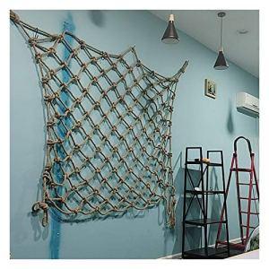 GZHENH-Telone Telo Copertura Child Safety Net Filet d'escalade pour Aire De Jeux Matériel De Jute Anti-âge Durable Rétro Décoration Murale, Personnalisable (Color : Beige-6cm, Size : 4x6m)