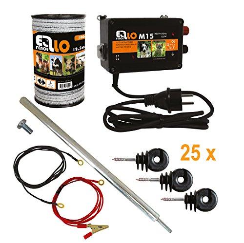 Hobby Set Starter de clôture ellofence pour clôture électrique–complet avec ruban, 12,5mm Clôture, erdpfahl et isolateurs–extrêmement silencieux Appareil. 230V