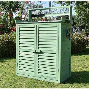 HOBIRD Rangement de Placard d'étagère d'étagère de Jardin extérieur en Bois portatif de Tous Les Temps pour des Jouets d'outils, Brun