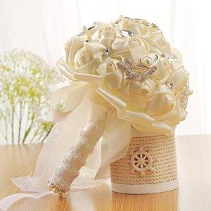 Hunpta Cristal roses Perle Demoiselle d'honneur Bouquet de mariage de mariage Fleurs Artificielles en soie blanc