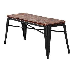IKAYAA 2 places Dining Chair naturel Pineta Top Cadre en métal Patio Meubles de jardin