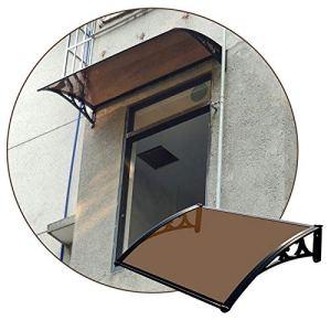 JIANFEI AuventMarquisePorted'entree, Abri De Toit en Polycarbonate pour Porte D'entrée Extérieure, Couverture De Pluie D'abri De Patio De Cour Support en Aluminium (Color : Brown, Size : 80X115CM)