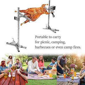 Kit de rôtissoire électrique pour barbecue, kit de rôtisserie automatique en acier inoxydable 15W Fourchettes à viande en acier inoxydable avec moteur électrique, pour barbecue de camping pique-nique