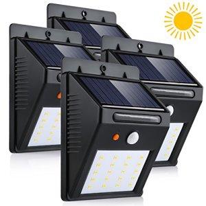 LEDMO 4-Pack Lampe Solaire LED à Détecteur de Mouvement 20 LED etanche pour extérieur, Jardin, Clôture, Patio, Pont, Cour, Allée, Escalier. (Blanc Lumière du Jour, 6000K)