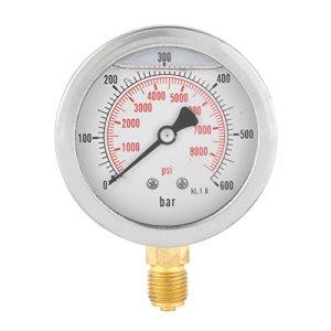 Manomètre Analogique à Gaz de 63 mm 0-600Bar 0-8500Psi pour Entrée de Base d'Instruments à Cadran à Huile à Air G 1/4″