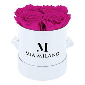 Mia Milano ® Boîte de Roses avec 4 Roses Infinity | Boîte à Fleurs (boîte Cadeau pour la Saint-Valentin) Fleurs conservées 3 Ans de durabilité (Blanc – Hot Pink)