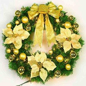 Noël grande couronne avec batterie Arbre de noël ornement festif ornement de porte de luxe ( Couleur : Or , taille : 60 cm )