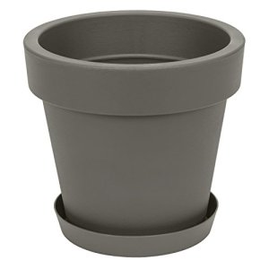 Pot de fleur avec soucoupe en plastique Lofly, classique, 50 cm diam, gris