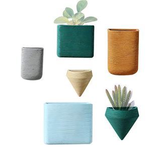 Purzest Lot de 6 pots de fleurs en céramique à suspendre pour plantes succulentes, plantes aériennes, mini cactus, plantes artificielles