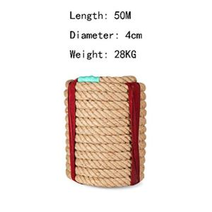 Q Rope Corde d'escalade Corde-Chanvre, diamètre 4cm, 15M, 20M, 25M, 30M, 40M, 50M, Corde de tir à la Corde, Adulte, Sports de Plein air