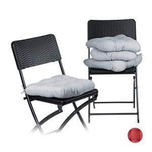 Relaxdays Coussin de chaise lot de 4 lavable 10 cm épaisseur doux moelleux pour siège de jardin à nouer 40 x 40 cm polyester, gris