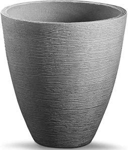 Spetebo Pot de fleurs rond en plastique au design rainuré 39,5 x 31 cm Pour l'intérieur et l'extérieur
