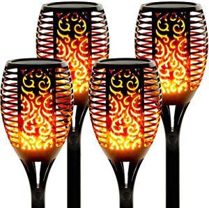 swonuk Lampe Flamme Solaire étanches IP65 Torche de Jardin Lumières Solaire de Flammes Exterieur Décoration pour Jardin Patio Chemins(4 Pack)