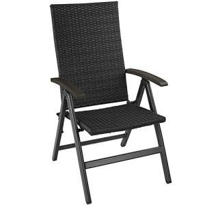 TecTake 800721 Chaise de Jardin Pliante en Résine tressée et Aluminium, Dossier inclinable sur 5 Positions – Plusieurs Couleurs – (Noir | no. 403233)