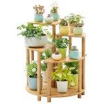 TGDY 5-Tier Bambou Fleur/Plante Système D'étagères Stand Rack Pot Affichage Intérieur en Plein Air, 70 X 60 X 60 Cm, Bois Matériau Plancher De Fleurs (Idéal Jardiniers Cadeau)