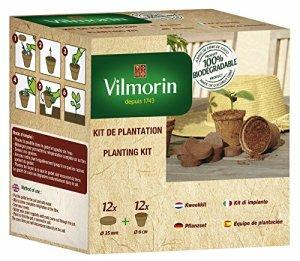 Vilmorin 3990624 Pack de 12 Godets Coco 6 cm + 12 Pastilles Fibre de Coco Compressée