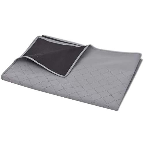Wakects Couverture de Pique-Nique d'extérieur imperméable Double Face Lavable en Machine à Laver pour Plage, Pique-Nique, Camping, Gris et Noir 150 x 200 cm