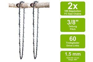 2 Chaînes à gouge carrée adaptable pour Topso E611AVB | 40cm 3/8 60M 1,5mm