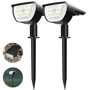 (2 Pack 32 LED)Viugreum Spot Solaire Exterieur, Lampe Solaire étanche IP65, Blanc Froid Avec 3 Modes d'éclairage de Projecteur Solaire Réglable Extérieur Solaire pour Jardin, Cour, Chemin, Allée