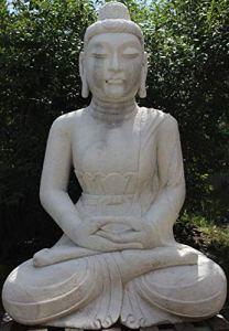 Asien Lifestyle Statue de temple Bouddha (175 cm) en pierre de marbre – Sculpture de jardin asiatique