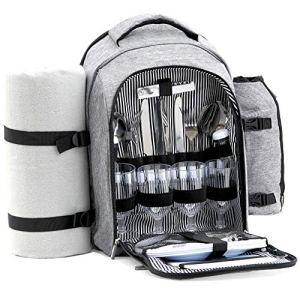 CampFeuer Sac à dos de pique-nique 32 pièces | set de pique-nique pour 4 personnes | gris | avec porte-bouteille, couverture de pique-nique, compartiment réfrigérant et matériel de camping