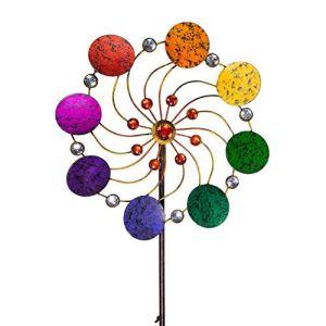 CIM Exotic Flower Rainbow – Moulin à Vent de Jardin en métal à roulement à Billes Résistant aux intempéries avec Tige de Support 3 pièces Ø 34 cm Hauteur Totale : 122 cm