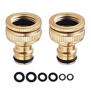 COSORO Lot de 2 connecteurs de robinet d'arrosage – 3/4 pouce et 1/2 pouce Connecteur de robinet fileté femelle en laiton 2 en 1 pour tuyau de tuyau, adaptateur de robinet fileté