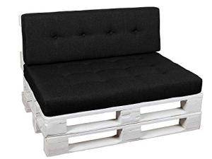 Coussins pour Palettes, Siège, Appui, Mousse, Matelassée PFG (Siège 120×60, Noir)