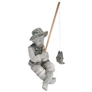 Design Toscano Frédéric le Petit Pêcheur d'Avignon Statue de Pêcheur pour Jardin, 38 cm, polyrésine, deux tons pierre
