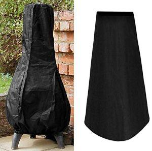 Dightyoho Grande housse de cheminée extérieure résistante imperméable pour jardin, terrasse, pluie, soleil, protection UV Noir 122 cm