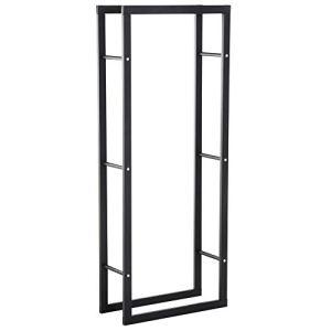Etagère porte bois de cheminée porte-bûches design contemporain charge max. 100 Kg dim. 60L x 25l x 150H cm métal noir
