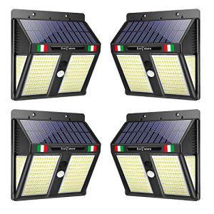 【GARANTIE À VIE】 Lumière solaire LED extérieure, EcoFuture 250 LED, lampe solaire d'extérieur avec détecteur de mouvement, éclairage 270°, étanche IP65 (4 Pièces)