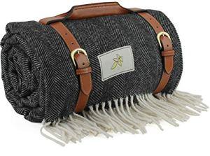 Good Gain Couverture de pique-nique imperméable en laine mélangée , très grand tapis de plage pliable avec poignée en PU, tapis de pique-nique portable anti-sable pour la randonnée en camping.Le Noir