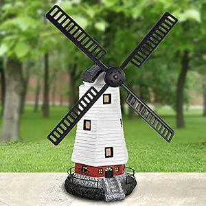 HITECHLIFE Moulin à vent solaire traditionnel, moulin à vent dornement de jardin avec lumière solaire LED, lumière décorative de moulin à vent étanche IP44 avec minuterie réglable