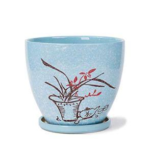 Indoor Gardening Flower Pots -CDingQ Ornements décoratifs, pot de fleurs rond en céramique de Pots de Fleurs rond de magasin de fleurs d'hôtel Cuisson respirable à hautes températures Potted Flower Po